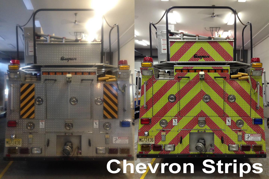 Chevron Strips Red Lime V98 NFPA 1901